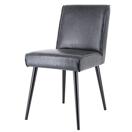 Exklusiver Stuhl SASCHA Echtleder Vintage Retro Küchenstuhl Esszimmerstuhl (schwarz)