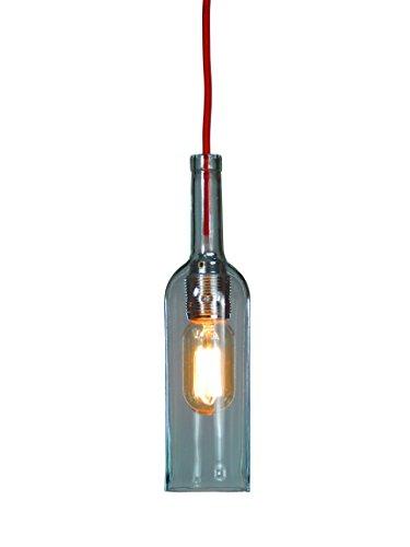 Flaschenlampe (Glasflasche Lichtgrün) mit Textilkabel Rot, 1,8m (incl. Edison Glühlampe)