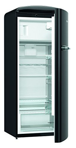 Gorenje ORB 153 BK Kühlschrank mit Gefrierfach / A+++ / Höhe 154 cm / Kühlen: 229 L / Gefrieren: 25 L / black / DynamicCooling-System / LED Beleuchtung / Oldtimer / Retro Collection [Energieklasse A+++]