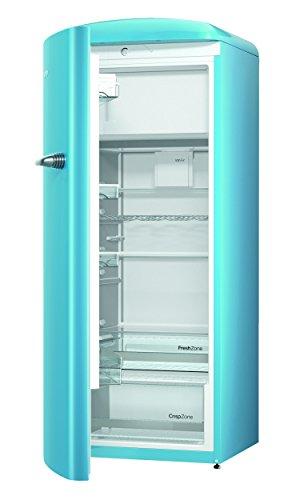 Gorenje ORB 153 BL-L Kühlschrank mit Gefrierfach / A+++ / Höhe 154 cm / Kühlen: 229 L / Gefrieren: 25 L / baby blue / DynamicCooling-System / LED Beleuchtung / Oldtimer / Retro Collection