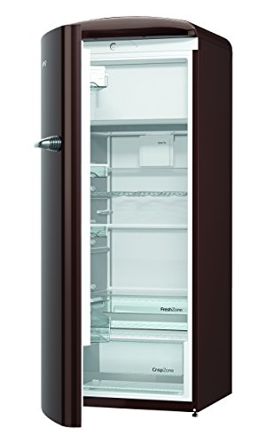 Gorenje ORB 153 CH-L Kühlschrank mit Gefrierfach / A+++ / Höhe 154 cm / Kühlen: 229 L / Gefrieren: 25 L / dark chocolate / DynamicCooling-System / LED Beleuchtung / Oldtimer / Retro Collection