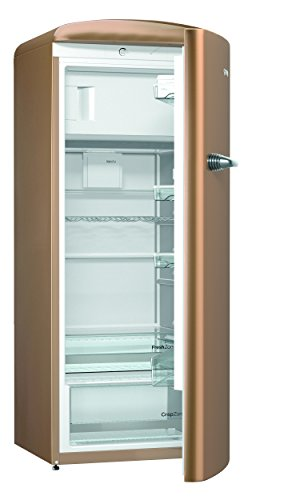 Gorenje ORB 153 CO Kühlschrank mit Gefrierfach / A+++ / Höhe 154 cm / Kühlen: 229 L / Gefrieren: 25 L / royal coffee / DynamicCooling-System / LED Beleuchtung / Oldtimer / Retro Collection