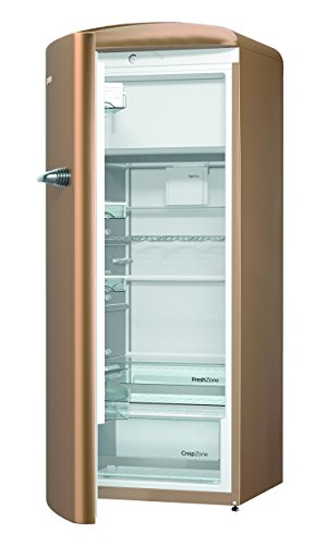 Gorenje ORB 153 CO-L Kühlschrank mit Gefrierfach / A+++ / Höhe 154 cm / Kühlen: 229 L / Gefrieren: 25 L / royal coffee / DynamicCooling-System / LED Beleuchtung / Oldtimer / Retro Collection