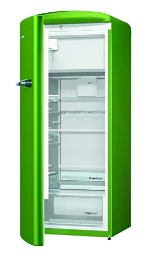 Gorenje ORB 153 GR-L Kühlschrank mit Gefrierfach / A+++ / Höhe 154 cm / Kühlen: 229 L / Gefrieren: 25 L / lime green / DynamicCooling-System / LED Beleuchtung / Oldtimer / Retro Collection