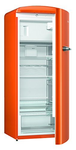 Gorenje ORB 153 O Kühlschrank mit Gefrierfach / A+++ / Höhe 154 cm / Kühlen: 229 L / Gefrieren: 25 L / juicy orange / DynamicCooling-System / LED Beleuchtung / Oldtimer / Retro Collection