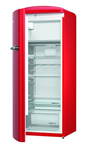 Gorenje ORB 153 RD-L Kühlschrank mit Gefrierfach / A+++ / Höhe 154 cm / Kühlen: 229 L / Gefrieren: 25 L / fire red / DynamicCooling-System / LED Beleuchtung / Oldtimer / Retro Collection