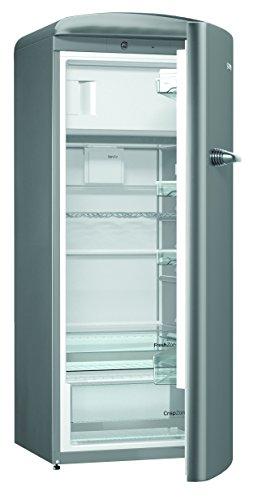 Gorenje ORB 153 X Kühlschrank mit Gefrierfach / A+++ / Höhe 154 cm / Kühlen: 229 L / Gefrieren: 25 L / inox / DynamicCooling-System / LED Beleuchtung / Oldtimer / Retro Collection