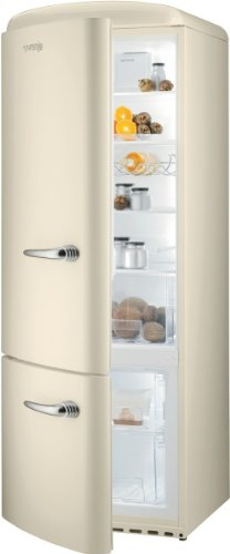 Gorenje RK 60319 OC-L Kühl-Gefrier-Kombination / A++ / Höhe 170 cm / Kühlen: 231 L / Gefrieren: 53 L / champagne crème / DynamicCooling-System / LED Beleuchtung / Flaschengitter / Oldtimer / Retro Collection