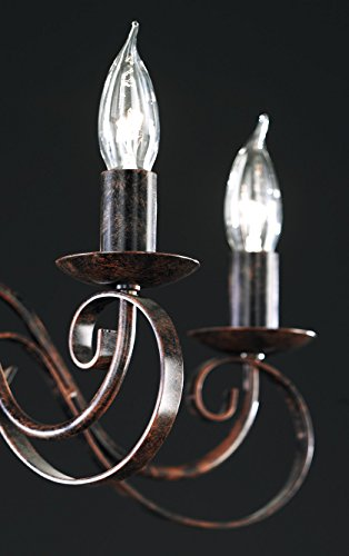 Honsel Leuchte Kronleuchterform 8 flammig, rostfarbig antik,