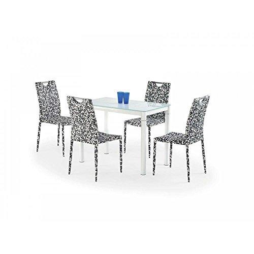 JUSThome Argus Esszimmertisch Küchentisch Esstisch aus Glas Weiß (LxBxH): 100x60x75 cm