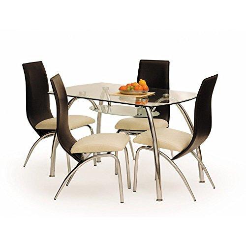 JUSThome Corwin Bis Esszimmertisch Küchentisch Esstisch aus Glas (LxBxT): 125x75x72 cm