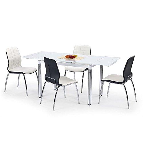 JUSThome L31 Esszimmertisch Ausziehtisch Küchentisch aus Glas Weiß (LxBxH): 110÷170x74x76 cm
