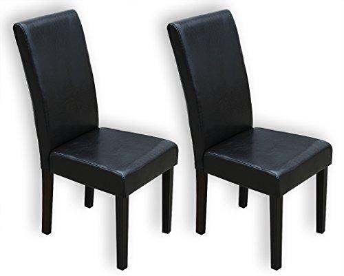 KMH®, 2er Set Esszimmerstühle mit dunkelbraunem Kunstlederbezug (#201732)