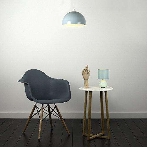 Kuppelförmiger und glänzender Lampenschirm aus minzgrünem und weißem Metall - für Hänge- und Pendelleuchte