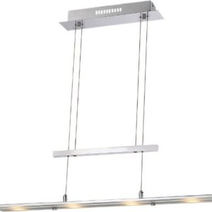 LED Hängelampe mit satinierter Glasplatte (Esszimmer-Lampe, Deckenlampe, Hängeleuchte, Höhe 165 cm, Breite 90 cm)