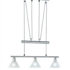 LED Pendelleuchte 3x4W hell höhenverstellbar 80 - 180 cm London 2700k 66cm nickel matt / Glas weiß