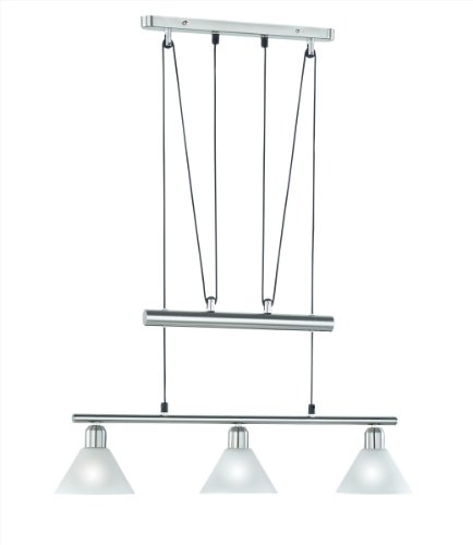 LED Pendelleuchte 3x4W hell höhenverstellbar 80 - 180 cm London 2700k 66cm nickel matt / Glas weiß