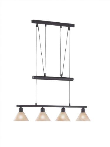 LED Pendelleuchte 4x4W hell höhenverstellbar 80 - 180 cm London 2700k 80cm rostfarbig / Glas amber