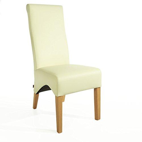Lederstuhl Lederstühle Regina Creme Weiß Eiche Esszimmerstuhl Stuhl Stühle