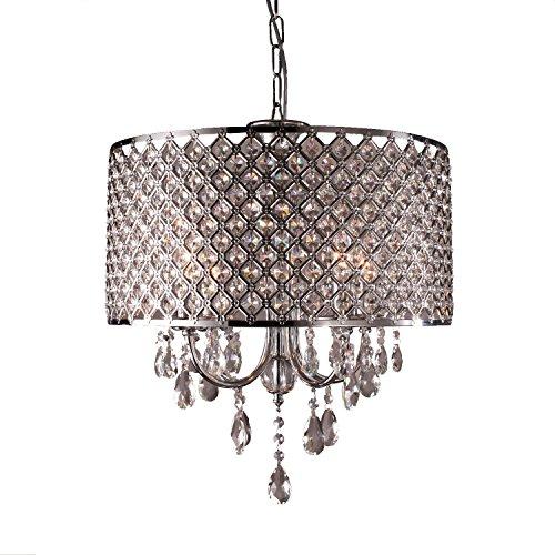 LightInTheBox® Moderne Kronleuchter mit 4 Lampen Pendelleuchte mit Kristalltropfen in Runde, Leuchte Decke zum Esszimmer, Schlafzimmer, Wohnzimmer