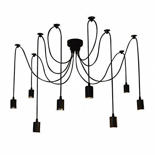 Lixada 8 Armen (je mit 1,7 m) Draht Antique Classic verstellbarer DIY Deckenleuchte Lampe Licht Spider Retro Kronleuchter Pendelleuchte E27, Esszimmer, Flur, Schlafzimmer, Hotel