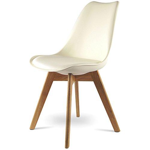 MOJO Design Stuhl Esstischstuhl Holz Gestell in weiss WO-Sel (Weiss U Gestell, Kunststoff)