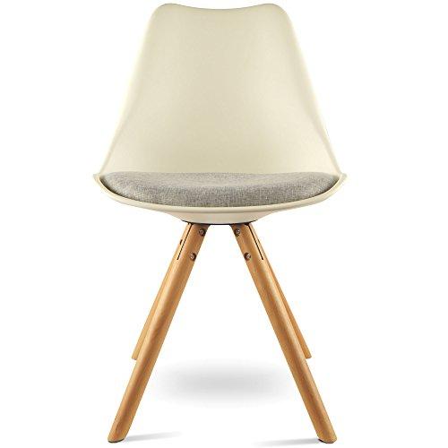 MOJO Design Stuhl Esstischstuhl Holz Gestell in weiss WO-Sel (Weiss X Gestell, Leinen)