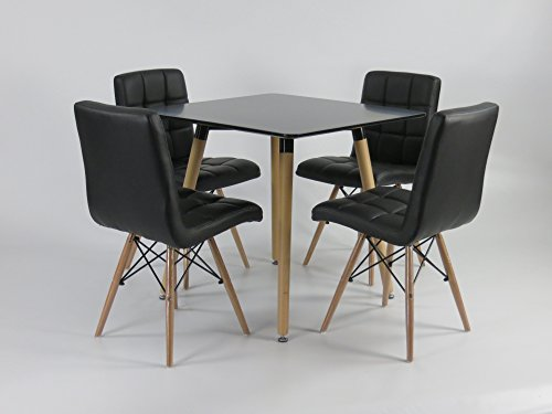 mdf inspiration retro esstisch 80 x 80 cm quadratisch schwarz tisch esszimmerst. Black Bedroom Furniture Sets. Home Design Ideas