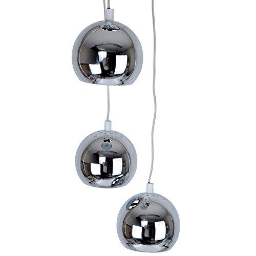 Moderne Deckenleuchte/Pendelleuchte mit 3 hängenden und kuppelförmigen Lampen im Retrostil und poliertem chrom Finish