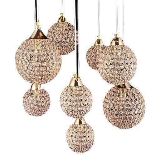 Ouku Goldene Kronleuchter mit 8 Lichtbedingungen für Wohnzimmer Pendelleuchten - Kristall - Zeitgenössisch/Kugel - Esszimmer/Schlafzimmer/Korridor