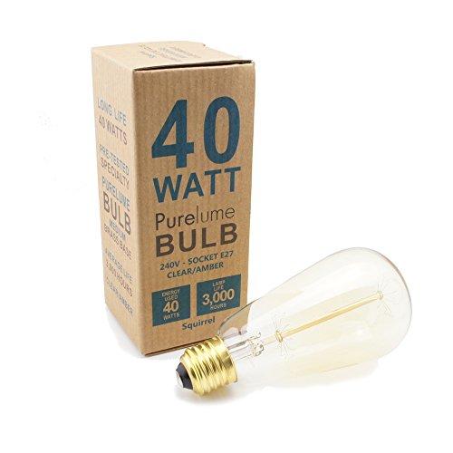 PureLumeTM Vintage Look - Antik Messing Pendeleuchte Hängelampe mit Edison Nostalgie 40W Glühbirne