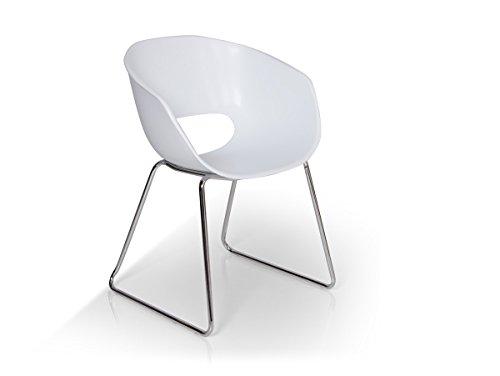 RETRO Esstischstuhl Kunststoff weiß/mit Metallgestell