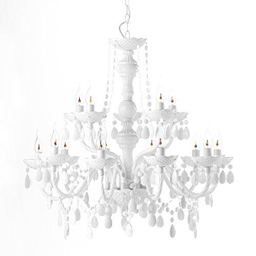 """ROOMPRODUCTS - """"FEUDAL WEISS"""" 15 armig, Retro moderner Acrylglas Design Kronleuchter, Höhe: 78 cm, Ø 82 cm mit geschliffenen Arcyl Prismen, täuschend echt wie Glas, traumhaft romantisch"""