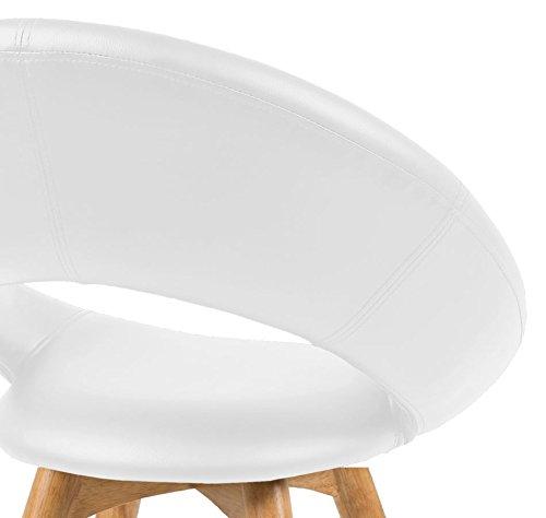 Retro Cocktailstuhl Esszimmerstuhl Plumpo Weiß Lederlook