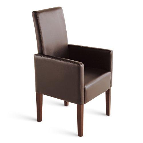 SAM® Esszimmer Armlehnstuhl Stuhl Ferrara in braun mit kolonialfarbigen Beinen aus Pinienholz angenehme Polsterung pflegeleicht teilzerlegt Auslieferung durch Paketdienst
