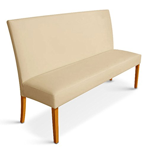 SAM® Esszimmer Sitzbank Roma I 140 cm in creme, SAMOLUX®-Bezug, Bank mit Rückenlehne und Pinienholz-Beinen in der Farbe buche, angenehme Polsterung für hohen Sitzkomfort
