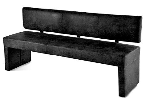 SAM® Esszimmer Sitzbank Stella in Wildlederoptik grau Stoff 200 cm angenehme Polsterung Bank mit Rückenlehne teilzerlegt Auslieferung durch Paketdienst