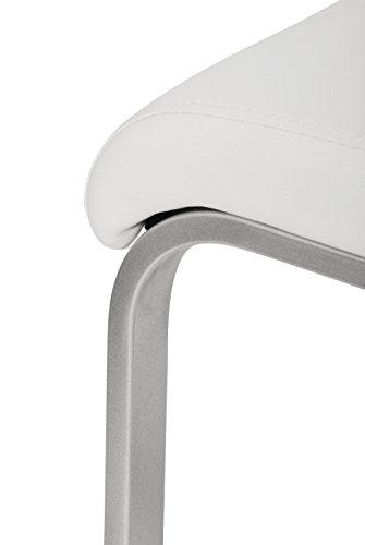 SAM® Exklusive Design Polsterstühle Freischwinger Paul 31 4er Set in weiß mit edelstahlfarbenen, pulverbeschichtetem Untergestell