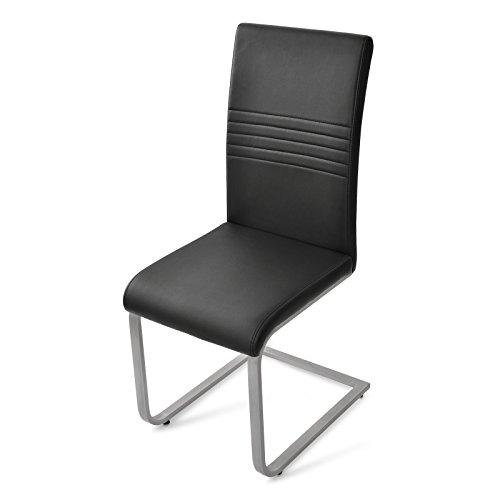 sam exklusive design polsterst hle paul 30 6er set in schwarz mit edelstahlfarbenen. Black Bedroom Furniture Sets. Home Design Ideas