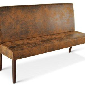 SAM® Sitzbank Salvatore 120 cm in Wildlederoptik, Stoff mit kolonialfarbigen Beinen aus Pinie, Bank mit Rückenlehne in zeitloser Optik, gepolsterte Essbank für angenehmen Sitzkomfort