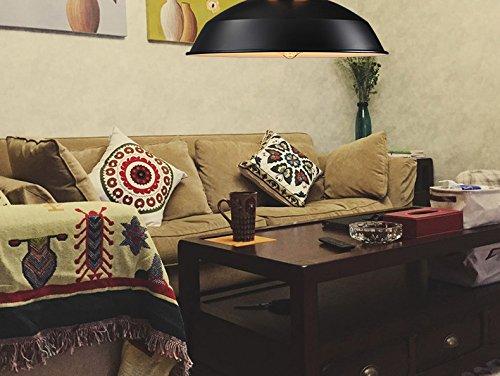 Splink Pendelleuchte Hängelampe Industrie Deckenlampe / Deckenleuchte, E27 Fassung Fabrik-Lampe Messing- schwarz Lampenschirm