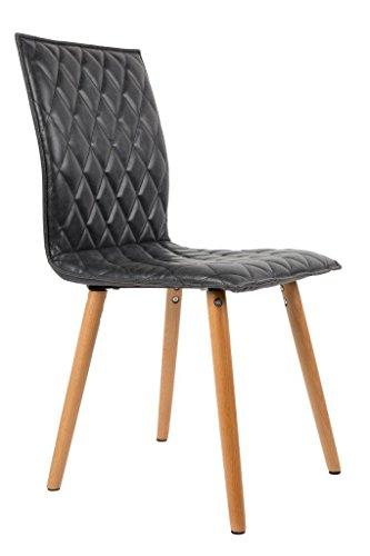 Stuhl ANDY Esszimmerstuhl mit Schalensitz in Kunstleder dunkelgrau
