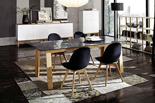 Stuhl Donna (2er Set) Tenzo schwarz Eiche Braun Holz & Textil Massivholz geölt