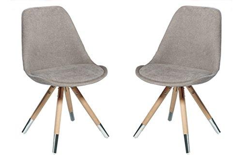 Stuhl orso 2er set webstoff grau eiche natur mit for Design stuhl range