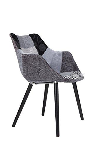 Stuhl Polsterstuhl TWELVE Patchwork grau von Zuiver im Retro Look