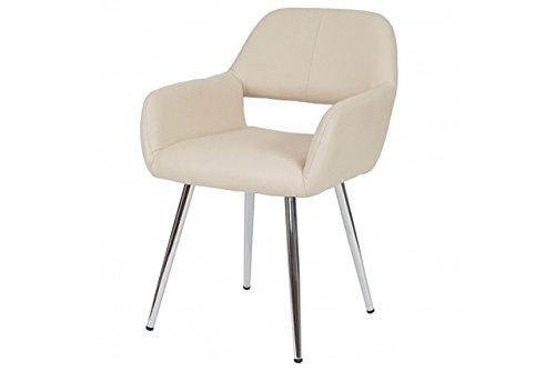 Stuhl creme Kunstleder Esszimmerstuhl Retro Stühle Küchenstuhl Lehnstuhl Chrom