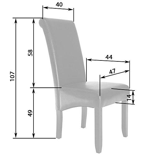 TecTake 2er Set Hochqualitativer Luxus Esszimmerstuhl 105cm hoch Holz - diverse Farben - (Schwarz)