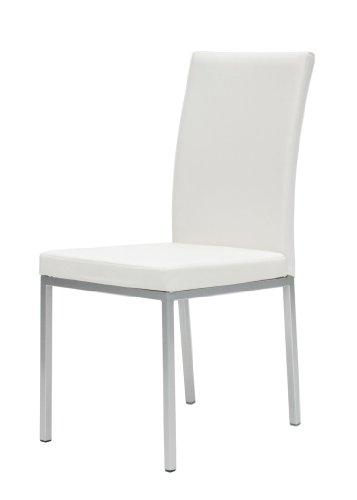 Tenzo 1479-801 Chik - 4er Set Designer Stühle, weiß, Lederoptik, 88 x 42 x 46 cm (HxBxT)