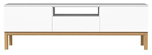 Tenzo 2273-001 Patch Designer TV-Bank, lackiert, Matt, Untergestell massiv, 56 x 179 x 47 cm, weiß / eiche
