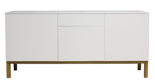 Tenzo 2275-001 Patch - Designer Sideboard, Untergestell Eiche massiv, 85 x 179 x 47 cm, weiß eiche / lackiert matt